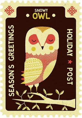 illustration, animal, bird, owl, design, pattern, stamp, naive, tree. Tom Frost