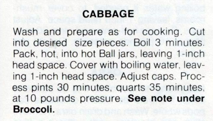 Canning cabbage