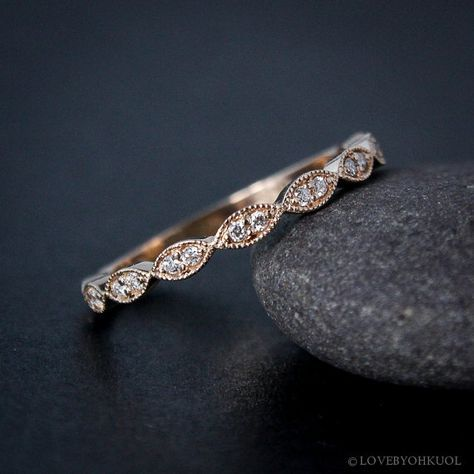 Rose Gold Wedding Band – Double Diamond Milgrain Leaf Wedding Band – Boho Bride