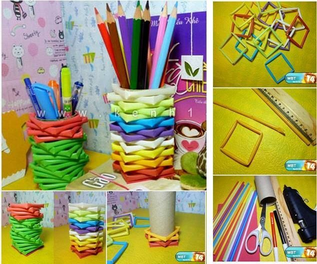 Porta canetas feitos com tubos de papelão contornados por quadrados de canudos plásticos, fixe os canudos com cola quente.