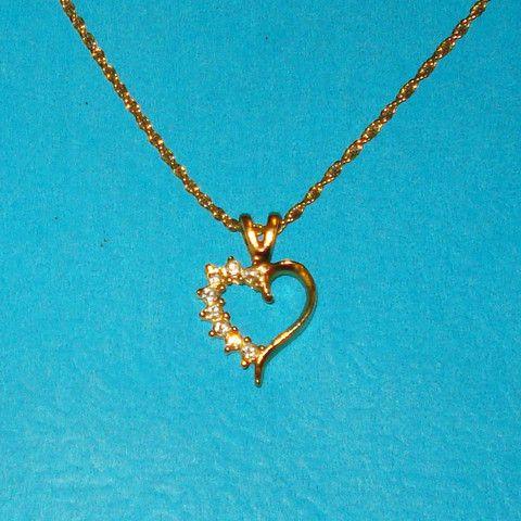 Rhinestone Heart Necklace - Mookie Designs Vintage