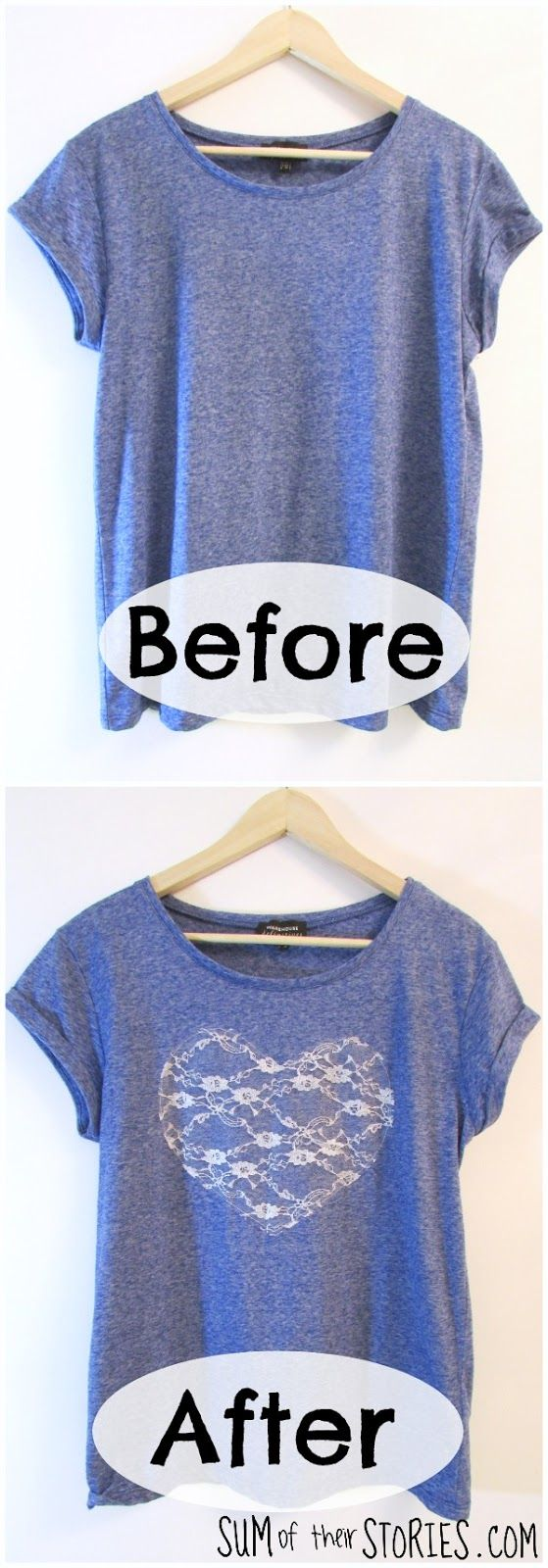 Lace Heart T shirt Refashion via @jsumoftheirstor #DIDI