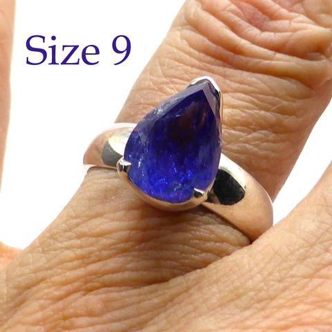 Tanzanite Ring Teardrop | 925 sterling Silver | Size 10 | Spiritual Superlative | Authentic stone from Tanzania | Mt Kilimanjaro | Crystal Heart Melbourne Australia since 1986