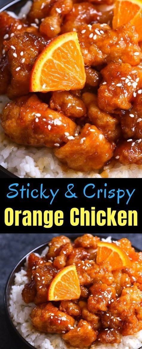 This Orange Chicken has crispy chunks of tender chicken covered in a tangy orang…