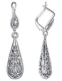 Ear Jackets Women Vintage Leverback Earrings 18K White Gold Plated Fashion Jewelry Filigree Teardrop Dangle Earrings ** Read more reviews of the product by visiting the link on the image.