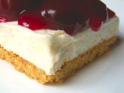 No-Bake Cherry Cheesecake I would make this with strawberries or Raspberries and use digestives in place of the graham crackers
