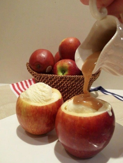 Baked apples with vanilla ice cream!!  With a melon scooper, core apples to hollow out the middle. Do not go all the way through...add cinnamon and sugar..Bake for 20-30 minutes on 350.  Pour carmel sauce over ice cream.