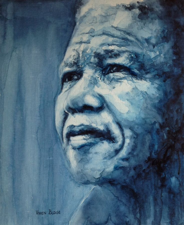 Madiba in blues #Madiba #watercolourpainting #watercolourcanvas