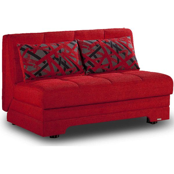 Taylor Loveseat Sofabed, Red - Sofas + Loveseats > Futons (153215 DZD) ❤ liked on Polyvore featuring home, furniture, sofas, storage sofa, red sofa, red loveseat, storage couch and storage furniture