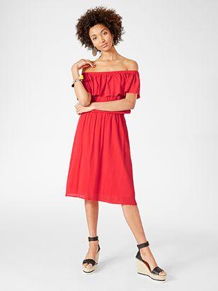 Off shoulder-klänning Röd