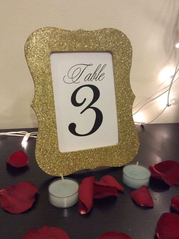 table frame with numbers scallop frame glitter by