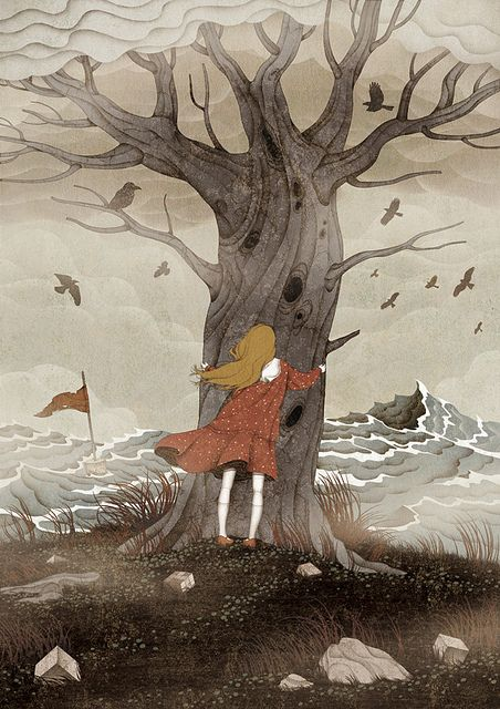 illustratedladies: gobugipaper: Not alone (2012) on Flickr. personal work ,digital painting, photoshop illustration by gobugi