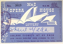 Opera House Lottery ticket: the lottery financed the construction of the Sydney Opera House and began in 1957