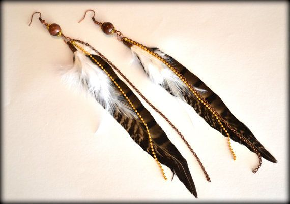 Feather Earrings Brown Feather Earrings Earth by MarianaHandmade, $25.00