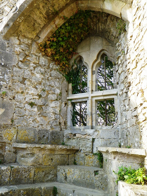 Carisbrooke Castle: Countess Isabella's Window, Newport, Isle of Wight, England. - Isabella was one of the great landowners of the thirteenth century, and Carisbrooke was her main residence. Unlike most other windows in the castle, this one would have been glazed. # Photographer Giles C. Watson.