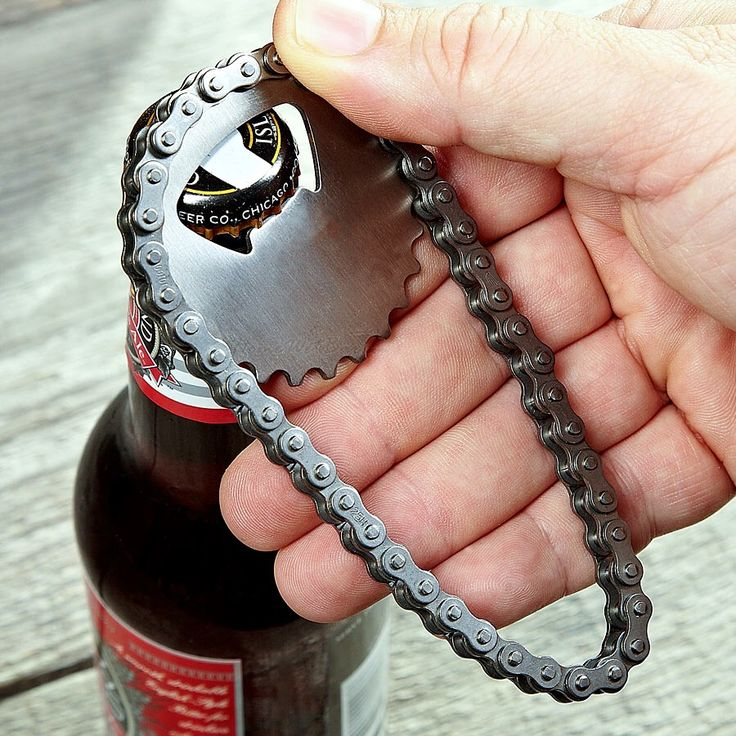 Biking fanatics strike again! But this time, with a little more swag. These bottle openers are made out of stainless steel. Plus the chain can be used as a twist off support, making all you bikers cooler than you already were! Now go have a drink to reward yourself for that extra mile you rode!