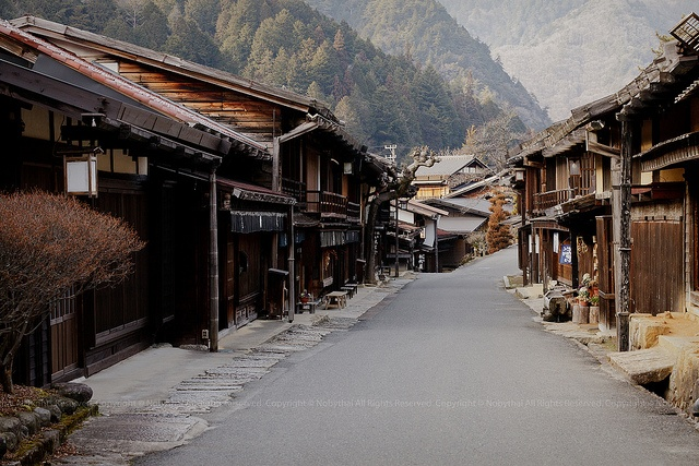 Tsumago–Magome Hike (Japan). 'A beautifully preserved post town in southern Nagano Prefecture, Tsumago is home to traditional wooden inns including Tsumago Honjin, which hosted travelling samurai lords. From Tsumago, follow the old Nakasendō post road up through sleepy alpine hamlets, old-growth cedar forests and waterfalls to the mountain pass of Magome-tōge.' http://www.lonelyplanet.com/japan/central-honshu/tsumago-and-magome
