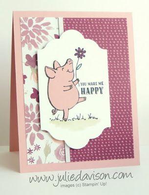Sneak Peek: Stampin' Up! This Little Piggy Blooms Card for GDP#082 ~ 2017-2018 Annual Catalog ~ www.juliedavison.com