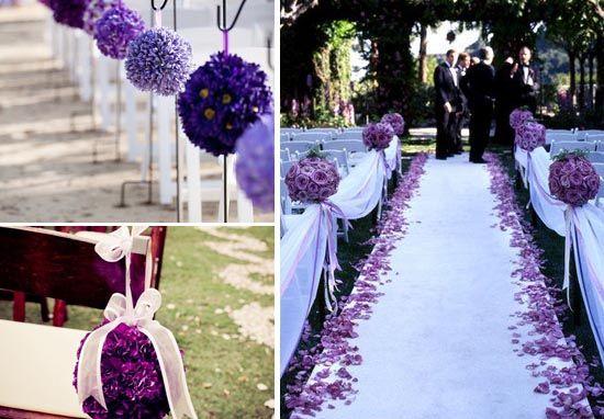 hochzeitsdeko-violett-in-lila-vor-traualtar-blume-inspiration http://www.optimalkarten.de/blog/lila-hochzeit-inspiration-tischdeko-einladungen-etc/