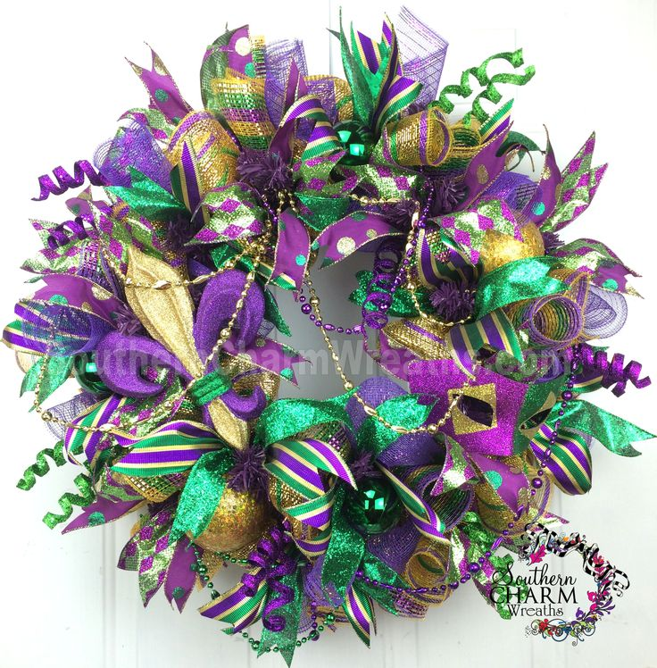 Deco Mesh Mardi Gras Wreath For Door or Wall Fleur De Lis, Fat Tuesday, Masquerade, New Orleans by www.southerncharmwreaths.com #decomesh #mardigras #wreath