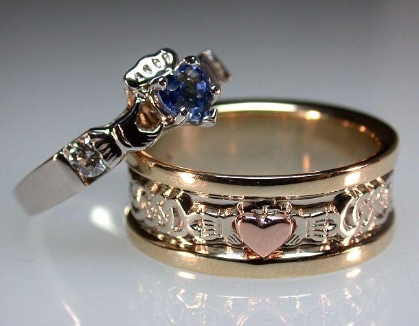 14kt Tri Color Claddagh Engagement Ring Set -