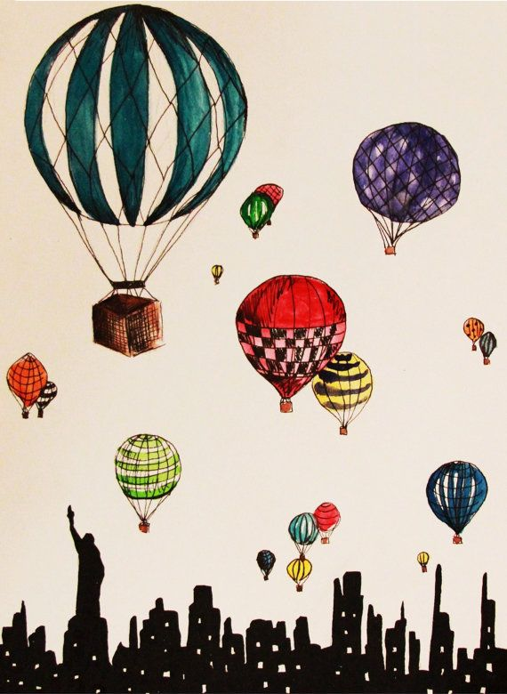 Hot Air Balloons Over New York City by TalulaChristian on Etsy, $10.00