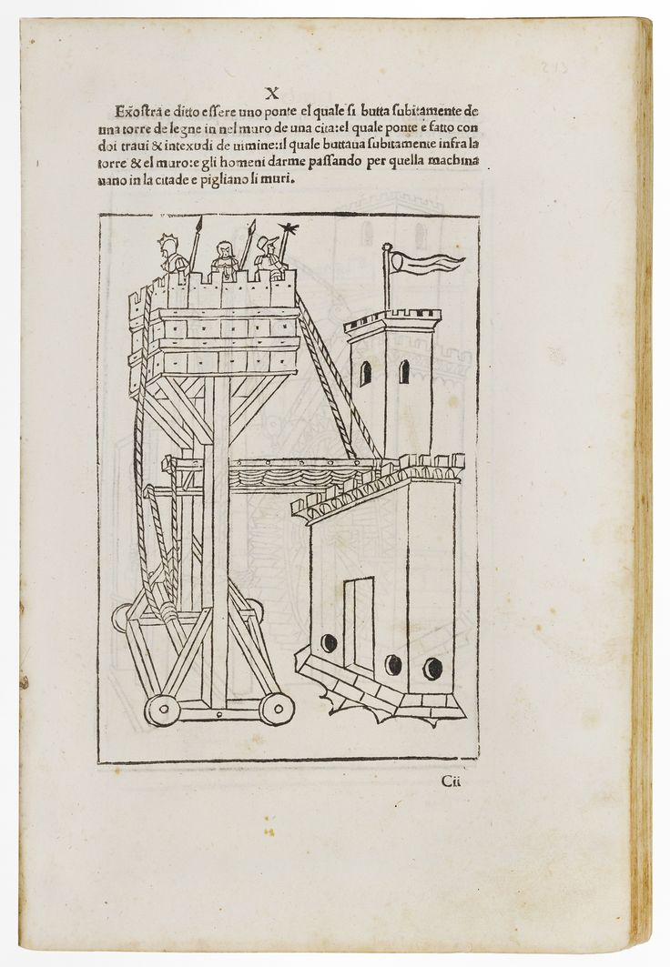 """First Italian edition of the famous military treatise """"De re militari"""", translated by Paolo Ramusio. The first Latin edition (1472) was the earliest printed book with technical illustrations, and the present edition is the first technical treatise in the vernacular."""
