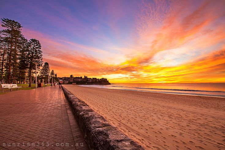 landscape photography image of beautiful sunrise over the Manly Beach, Sydney Northern Beaches, NSW, Australia