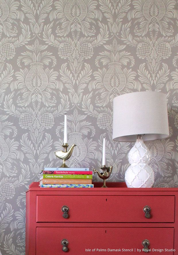 learn how to stencil video diy accent wall with chalk paint brushes - Design Of Wall Painting