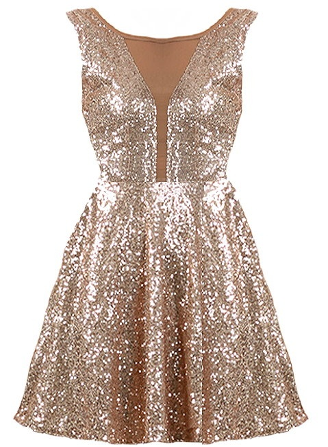 New Year's Kiss Dress: Features a cleverly designed bodice with taupe mesh paneling to the front and upper backside, glittering ash gold sequin foundation, figure flattering empire waist, and a twirl-worthy A-line skirt with to finish.