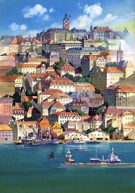Korico, la cittàà immaginaria in cui si trasferisce kiki  (vedi Wikipedia) - #KikyConsegneADomicilio - H.Miyazaki