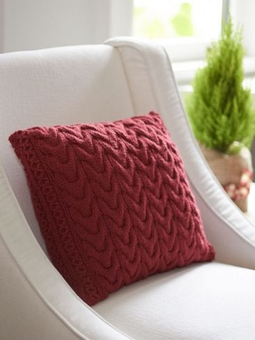 Christmas Cables Pillow | Yarn | Free Knitting Patterns | Crochet Patterns | Yarnspirations
