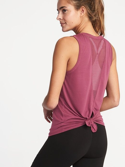 61f5f09df8 Relaxed Mesh-Back Fly-Away Tank for Women in 2019 | Cute gym tops ...
