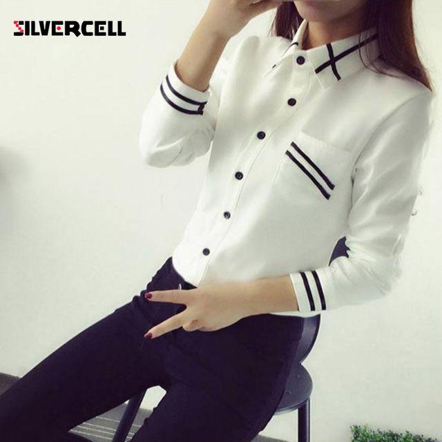 Estilo coreano Blusas de Las Mujeres de Moda de Otoño de Manga Larga Con Lentejuelas Gasa de Las Señoras de Oficina Camisa Blanca Azul Tops Formales