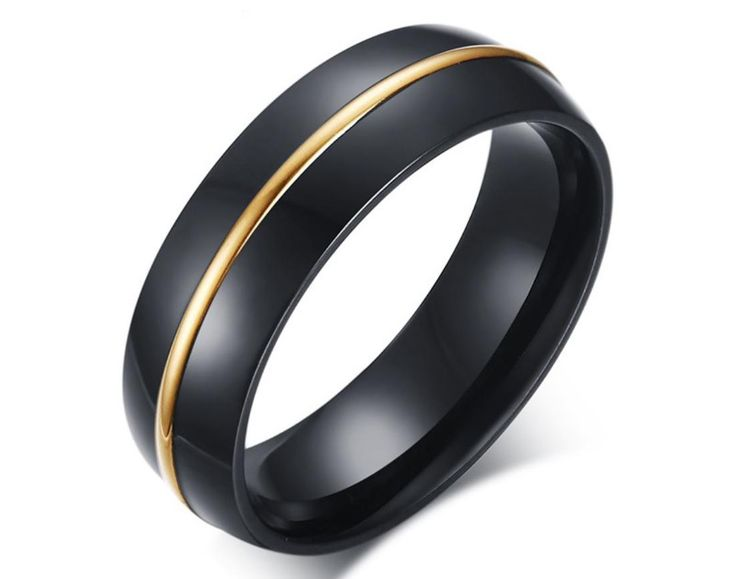 US$ 2.17 Wholeasel Black Stainless Steel Mens Rings with Gold Line