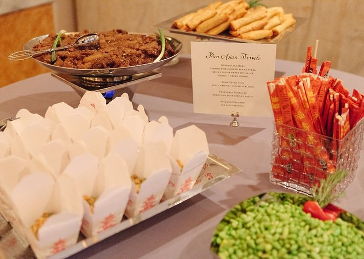 Having a variety of food stations? The perfect cuisine to include into your food station selection if you and your fiance share a passion for chinese take out and many of your dates have either taken place at these take out locations, or you both enjoyed the ethnic food while watching a movie and getting cozey at home.