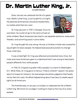 Martin luther king reading comprehension pdf