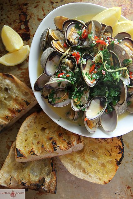 Wine and Butter Steamed Clams by Heather Christo