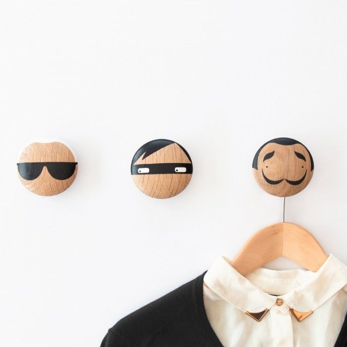 Yet more fabulousness from the talented Becky at Sketch Inc for Lucie Kaas, this time in form of wall hooks/drawer pulls based on the characters of her popular kokeshi dolls. Choose from Karl (Lage…