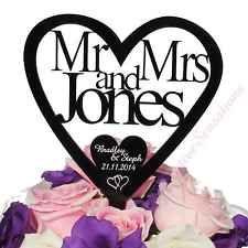 Personalised Acrylic Wedding Cake Topper Heart Mr