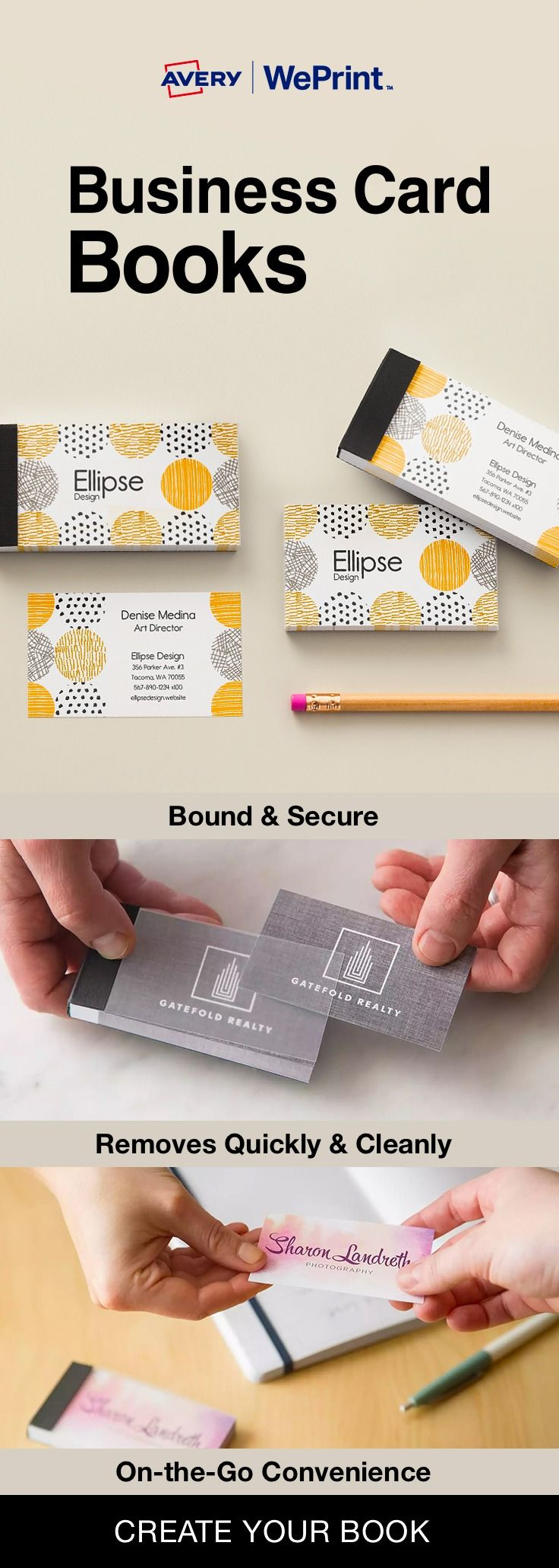 38 best creative b cards images on pinterest visit cards business weprint business card books are premium business cards neatly bound in a secure covered book with a clear cover reheart Image collections