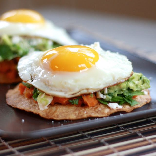 Avocado, sweet potato & fried egg tostada. Not sure why the tortillas have to be heated up in the oven first (I would just nuke them, so lazy), but yum!