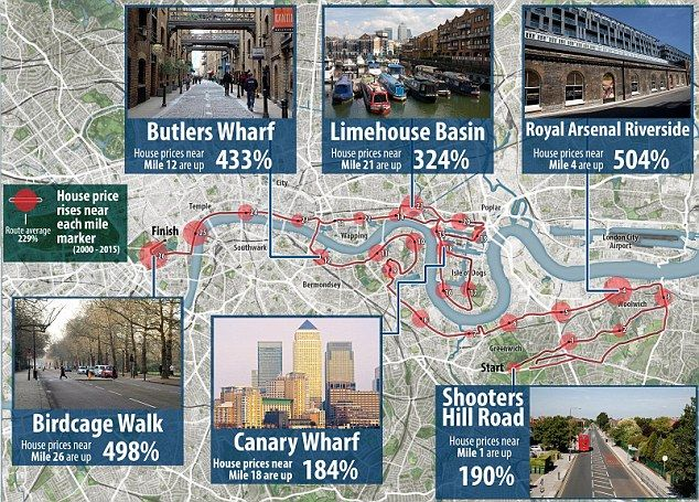 London Marathon 2016 map reveals house prices along route...: London Marathon 2016 map reveals house prices along… #LondonMarathonRoute2016