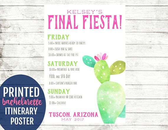 Personalized itinerary posters are perfect for bachelorette parties and weekends! Each poster is custom designed and printed for your party. You choose the colors and text. After the party, give to the bride-to-be to save as a keepsake! This is NOT a digital file, posters are designed