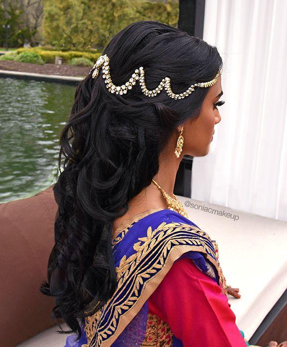curled garba hair, curled sangeet hair, indian hair piece, indian hair jewelry, mathapatti, bridal hair, indian bridal hair, 360 headpiece, soniacmakeup
