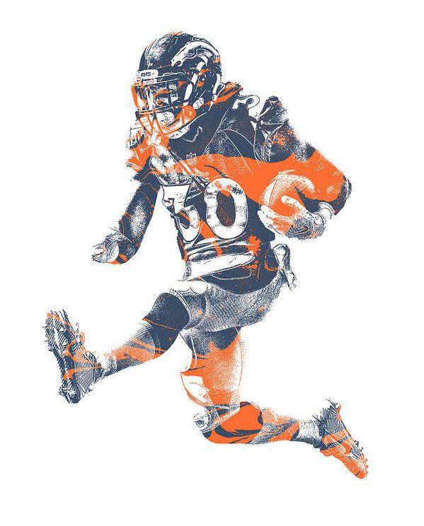 Phillip Lindsay Denver Broncos Pixel Art 2 Art Print by Joe Hamilton ... a55ebe0e7