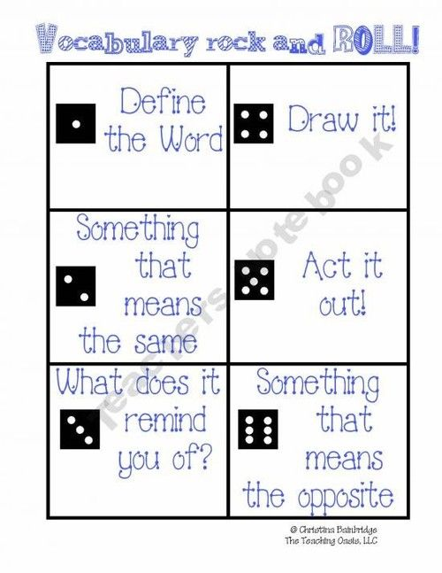 This will make a good game during vocabulary lessons to keep students interested and get them participating in class. If students have not done their homework and defined the words then they will not know the answers and the usage of dice may not agree with some parents or administration.
