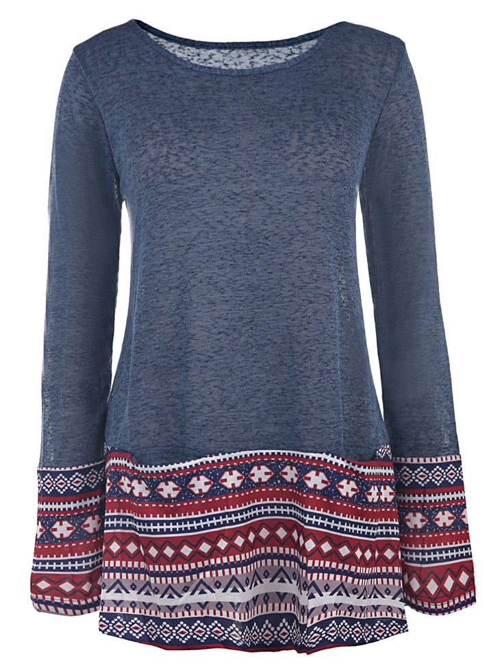 Casual Style Long Sleeve Scoop Collar Ethnic Print Women's T-Shirt