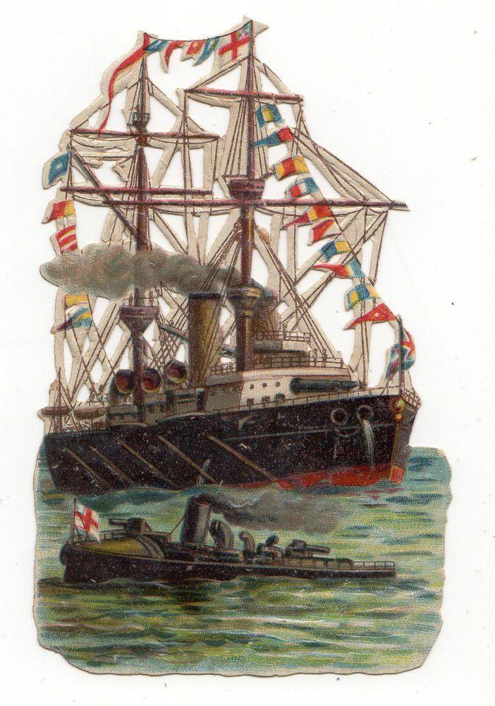 3 VICTORIAN SCRAPS SHIPS   (I3):