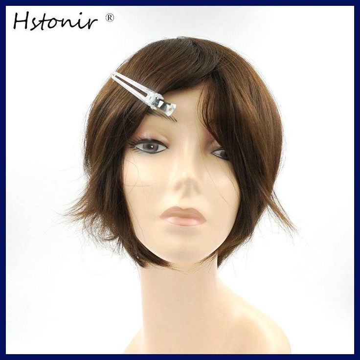 Hstonir Natural Hairline European Real Hair Wig In Human Wigs Prosthesis Capilares For Women Full Thin Skin Injection H076